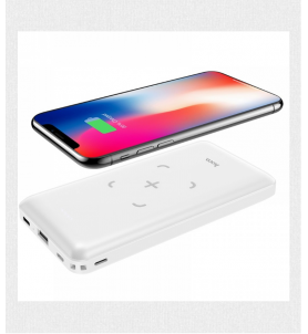 Power Bank Wireless 10000mAh 5W 2XUSB con Indicatore Led - Bianco
